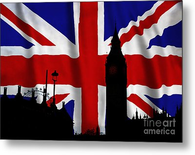 London Union Jack Montage Metal Print by Tim Gainey