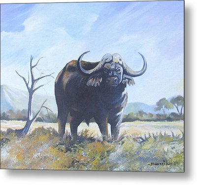 Metal Print featuring the painting Lone Bull by Anthony Mwangi