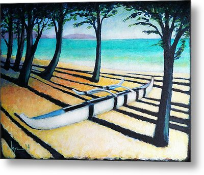 Metal Print featuring the painting Lone Canoe by Angela Treat Lyon
