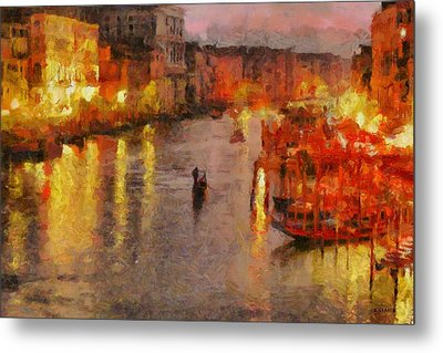 Metal Print featuring the painting Lone Gondolier At Night by Kai Saarto