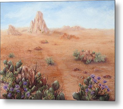 Metal Print featuring the painting Lone Mesa by Roseann Gilmore
