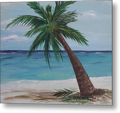 Metal Print featuring the painting Lone Palm by Debbie Baker