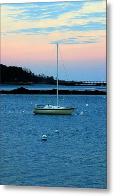 Lone Sailboat At York Maine Metal Print