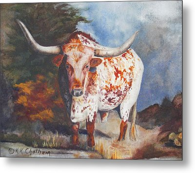 Metal Print featuring the painting Lone Star Longhorn by Karen Kennedy Chatham