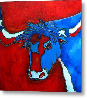 Lone Star Longhorn Metal Print by Patti Schermerhorn