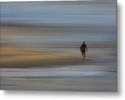 Metal Print featuring the photograph Lone Surfing Walking A Surreal Shoreline by David Orias