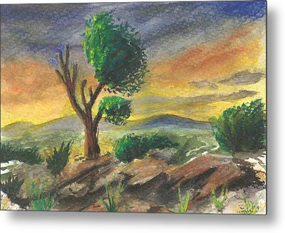 Metal Print featuring the painting Lone Tree At Sunset by Sherril Porter