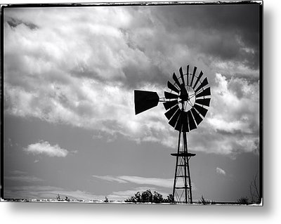 Lone Windmill On The Prairie Metal Print