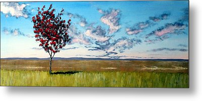 Lonely Autumn Tree Metal Print by Michael Dillon