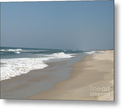 Lonely Beach On Cape Hatteras Metal Print by Christiane Schulze Art And Photography