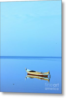 Metal Print featuring the photograph Lonely Boat by Mohamed Elkhamisy