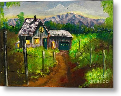 Lonely Cabin Metal Print by Donna Chaasadah