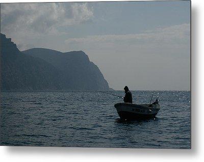 Lonely Fisherman Metal Print by Jon Emery
