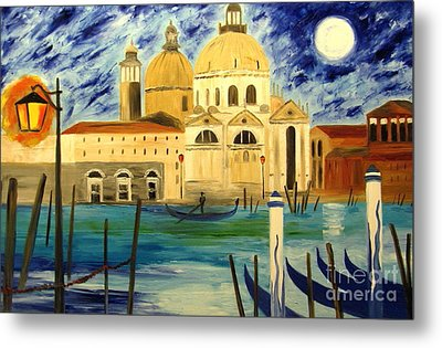 Lonely Gondolier Metal Print by Mariana Stauffer