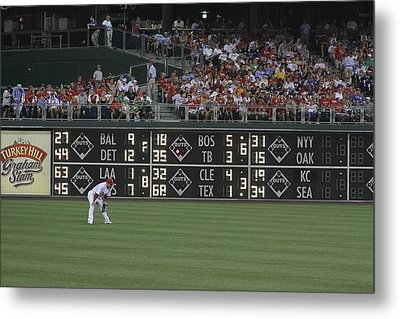 Lonely In Center Field Metal Print by Dave Hall
