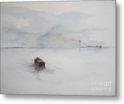Metal Print featuring the painting Lonely Mooring by Sibby S