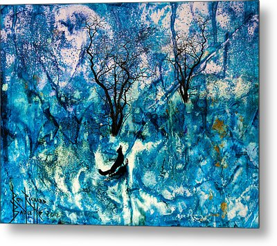 Metal Print featuring the painting Lonely Night by Ron Richard Baviello