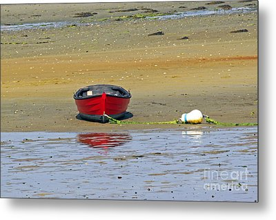 Lonely Red Boat Metal Print