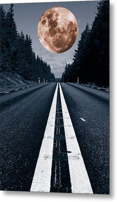 Lonely Road And Full Moon Metal Print by Christian Lagereek