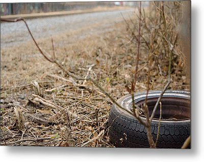 Lonely Tire Metal Print