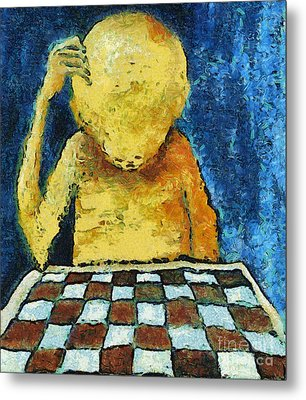 Lonesome Chess Player Metal Print by Michal Boubin