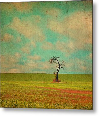 Lonesome Tree In Lime And Orange Field And Aqua Sky Metal Print by Brooke T Ryan