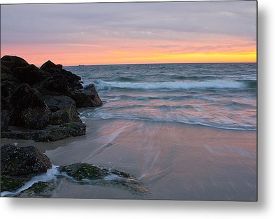 Metal Print featuring the photograph Long Beach By The Rocks by Jose Oquendo