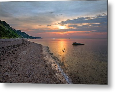 Long Island Beach And Sound Metal Print by June Jacobsen