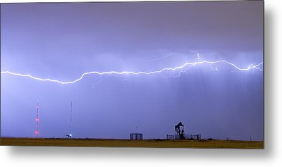 Long Lightning Bolt Strike Across Oil Well Country Sky Metal Print by James BO  Insogna