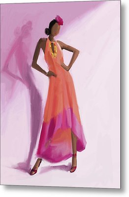 Long Orange And Pink Dress Fashion Illustration Art Print Metal Print by Beverly Brown