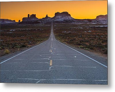 Long Road To Monument Valley Metal Print by Larry Marshall