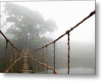 Long Rope Bridge Metal Print by Skip Nall