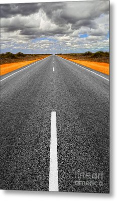 Long Straight Road With Gathering Storm Clouds Metal Print by Colin and Linda McKie
