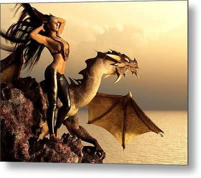 Metal Print featuring the digital art Longhaired Biker Chick And Dragon by Kaylee Mason