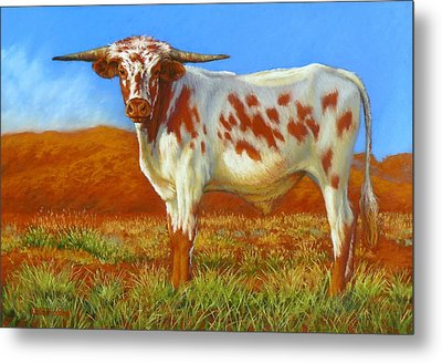 Metal Print featuring the painting Longhorn In The Australian Outback by Margaret Stockdale