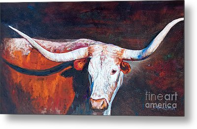 Metal Print featuring the painting Longhorn Legacy by Karen Kennedy Chatham
