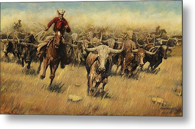 Longhorn Stampede Metal Print by Don  Langeneckert