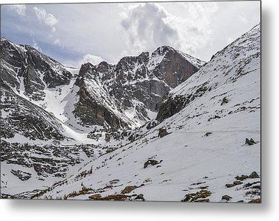 Longs Peak Winter Metal Print by Aaron Spong