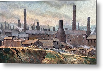 Longton Pot Works Metal Print by Anthony Forster