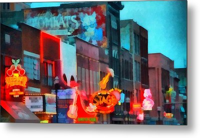 Looking Down Broadway In Nashville Tennessee Metal Print by Dan Sproul