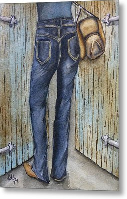 Metal Print featuring the painting Blue Jeans A Hat And Looking Good by Kelly Mills