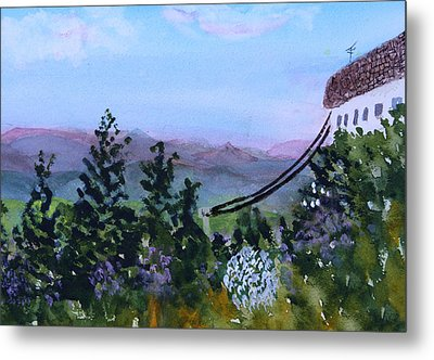 Metal Print featuring the painting Looking Out From Top Of Jay Peak  by Donna Walsh