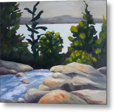 Metal Print featuring the painting Looking Out Over Rosseau Falls by Jo Appleby