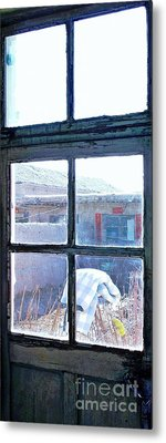 Metal Print featuring the photograph Looking Out The Kitchen Door In February by Ethna Gillespie