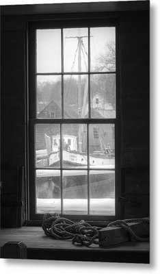 Looking Out The Oyster Shack - Maritime Memories Metal Print by Gary Heller