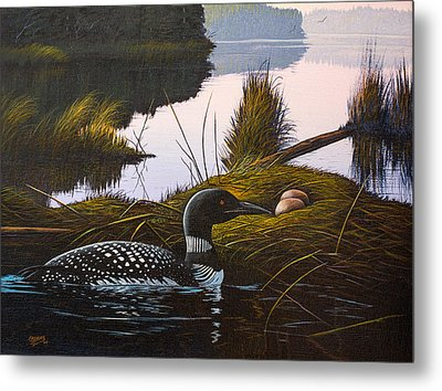 Metal Print featuring the painting Loon Lake by Richard Faulkner