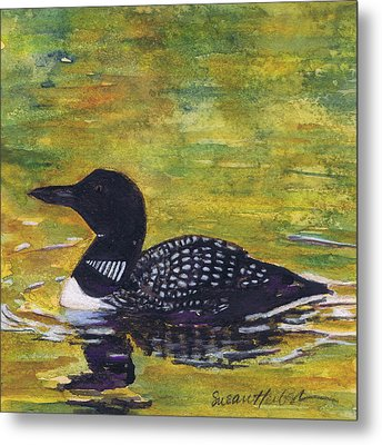 Metal Print featuring the painting Loon On Jordon Pond Maine by Susan Herbst