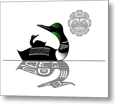 Loon With Chick Metal Print