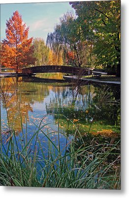 Loose Park In Autumn Metal Print by Ellen Tully