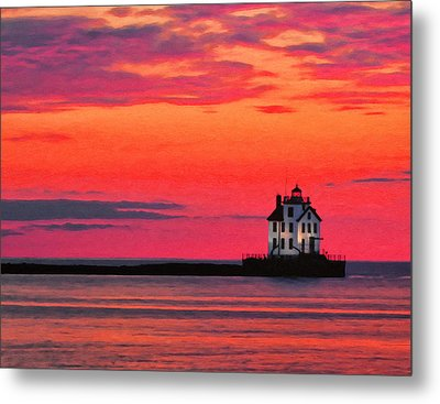 Lorain Lighthouse At Sunset Metal Print